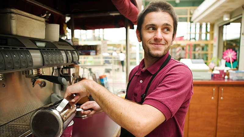 Guy making coffee